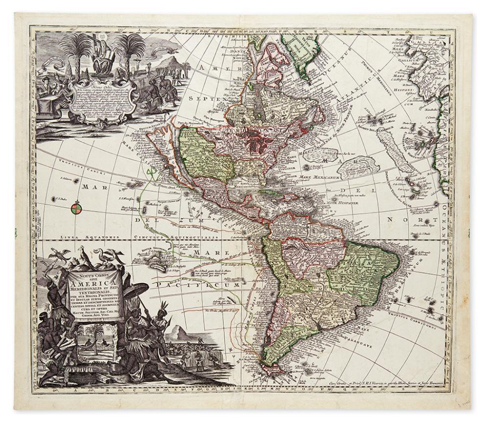SEUTTER, MATTHAEUS. Novus Orbis Sive America Meridionalis et Septentrionalis.