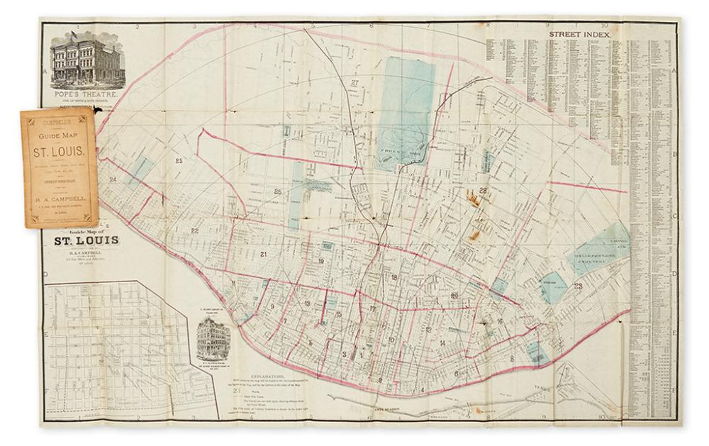 (ST. LOUIS, MISSOURI.) Campbell, Robert Allen. Campbell''s Revised Guide Map of St. Louis.