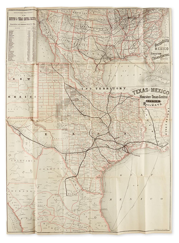 (TEXAS.) Houston and Texas Central Railway. Texas and Mexico Showing Houston and Texas Central System of Railways.