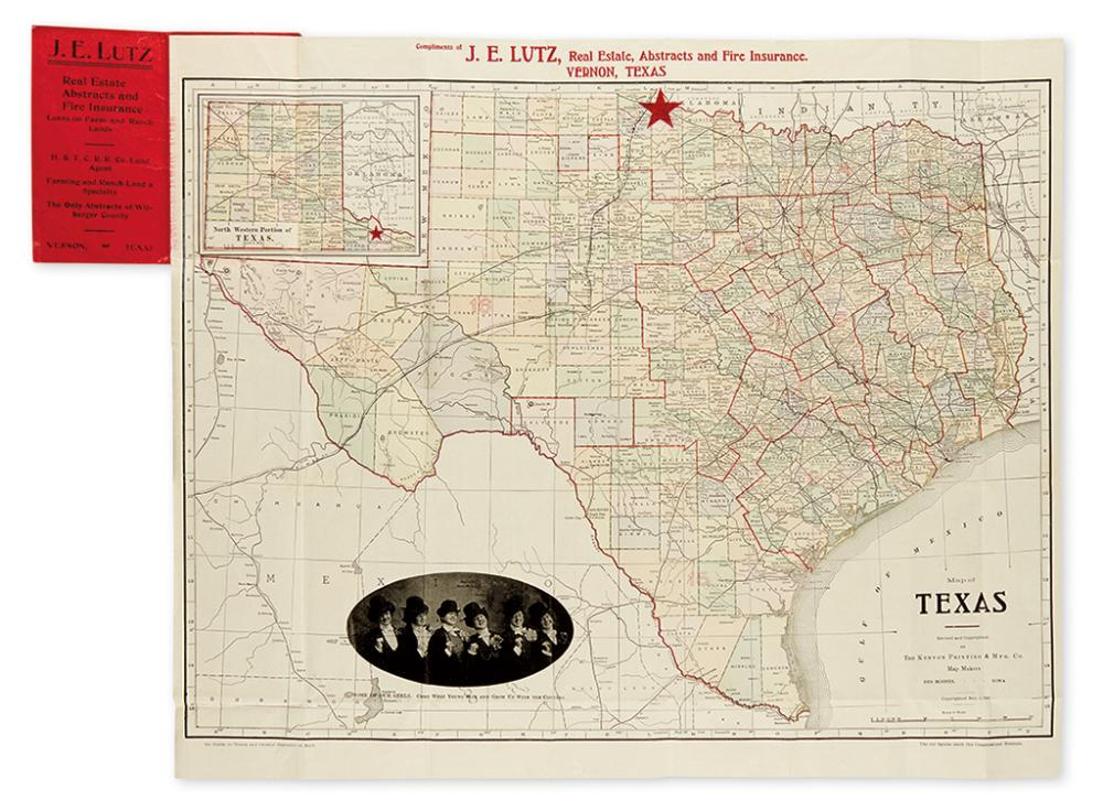 (TEXAS.) The Kenyon Printing & Mfg. Co. Map of Texas.