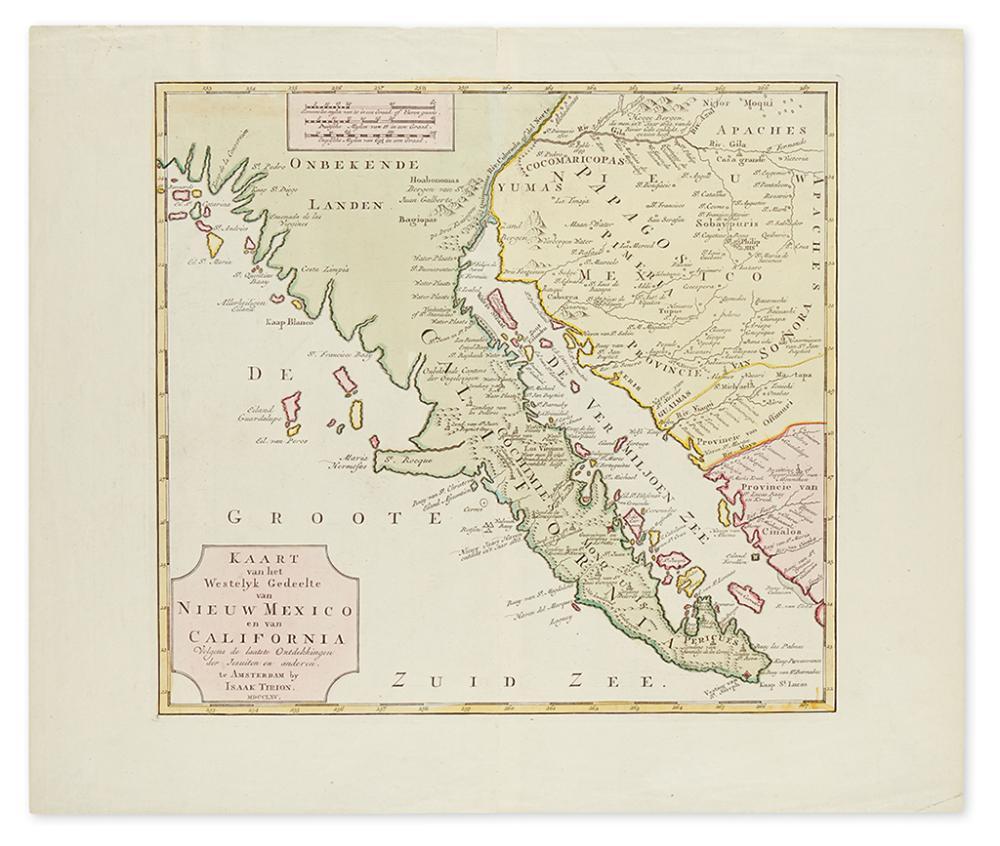 TIRION, IZAAK. Karte van het Westelyk Gedeelte van Nieuw Mexico en van California.