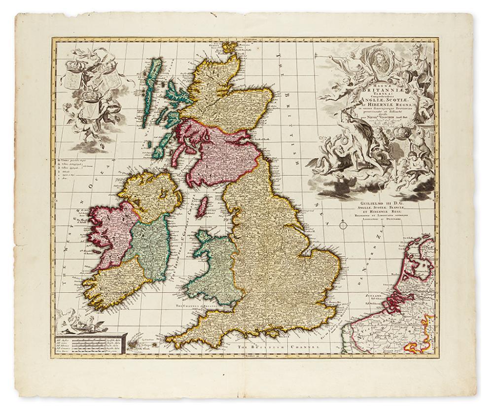 VISSCHER, NICOLAES. Magnae Britanniae Tabula; Comprehendens Angliae, Scotiae, ac Hiberniae Regna.