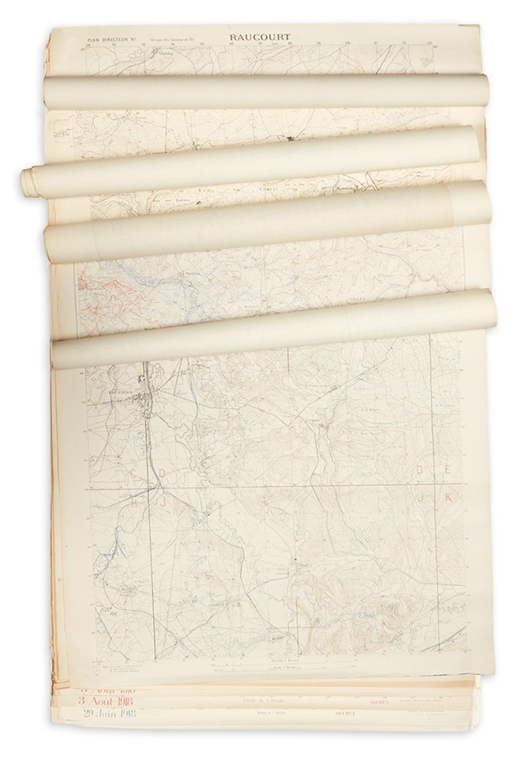 (WORLD WAR I.) Groupe Des Canevas De Tir. Group of 17 large topographical maps of war areas in France.