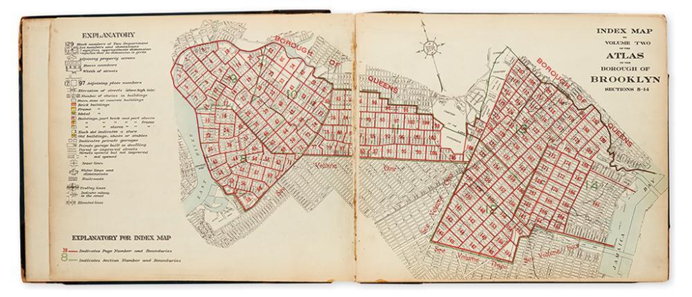 (NEW YORK CITY - BROOKLYN.) Hyde, E. Belcher. Desk Atlas/Borough of Brooklyn. Volumes 2, 3, and 4.