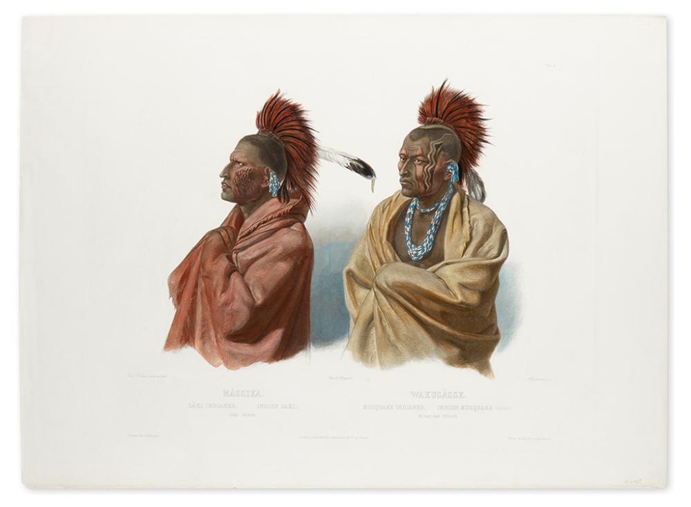 BODMER, KARL. Massika. Saki Indian. / Wakusasse. Musquake Indian. Tableau 3.