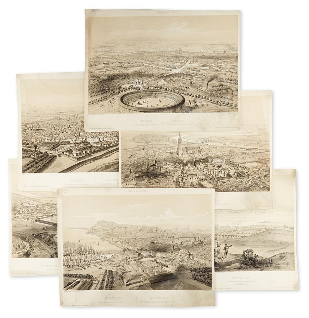 (CITY VIEWS - SPAIN.) Guesdon, Alfred. Six tinted lithographed birds-eye views of Spanish cities from L''Espagne a Vol D''Oiseau.