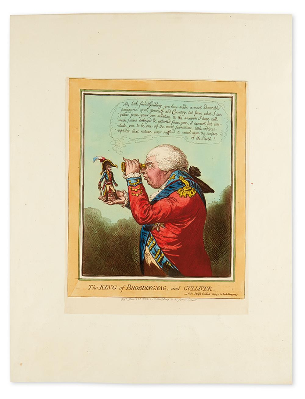 GILLRAY, JAMES. The King of Brobdingnag, and Gulliver.