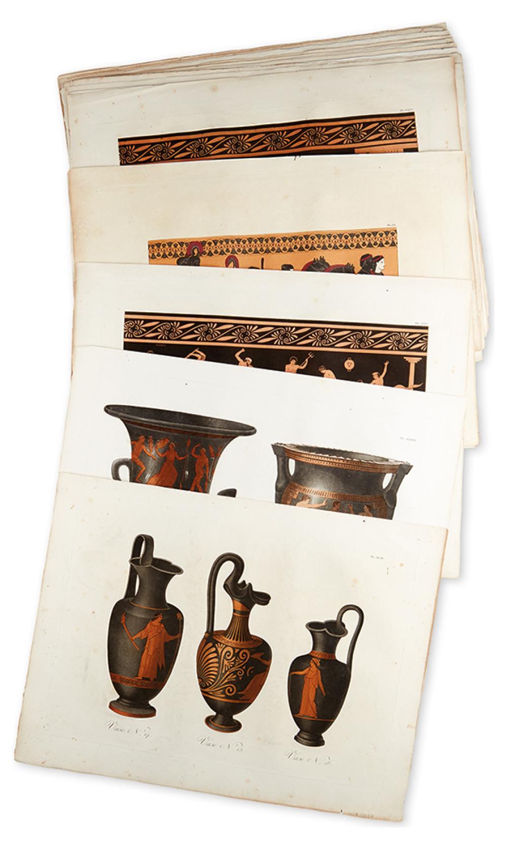 (GREEK ANTIQUITIES.) De Laborde, Alexandre. 20 color-printed aquatint and engraved plates,