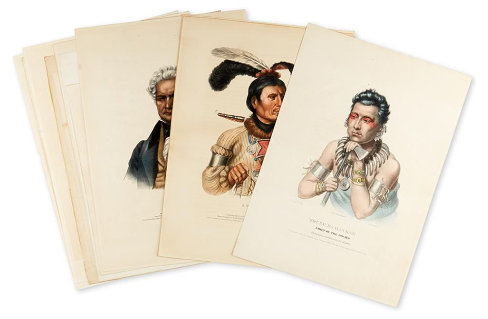 MCKENNEY, THOMAS; and HALL, JAMES. Group of 11 hand-colored lithographed plates