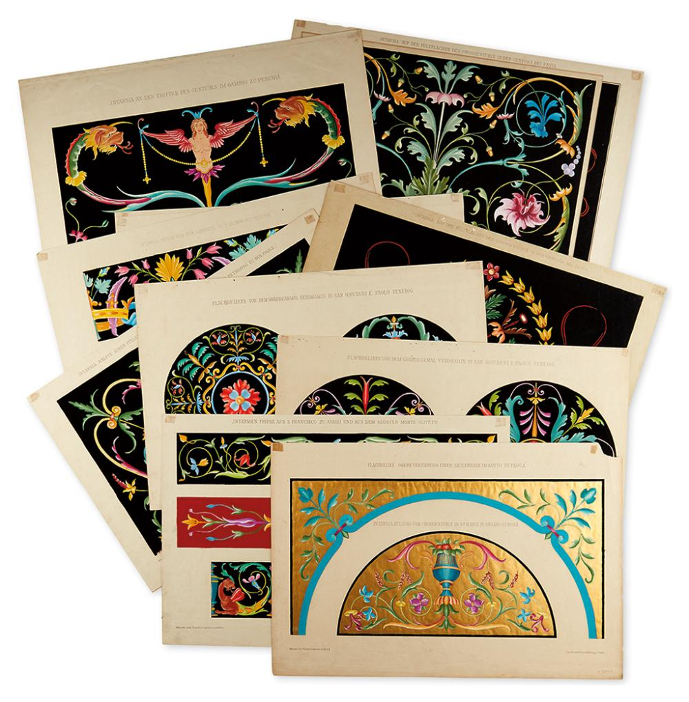 MEURER, MORITZ. Fifteen lithographed plates of ornamental Italian intarsia design,