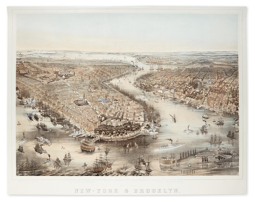 (NEW YORK CITY.) [Bachmann, John, after.] Bird''s Eye View of New-York & Brooklyn.