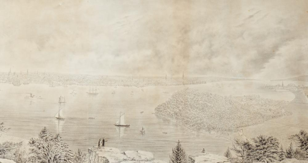 (NEW YORK CITY.) Billing, Frederick William. [Panoramic view of New York City from New Jersey.]