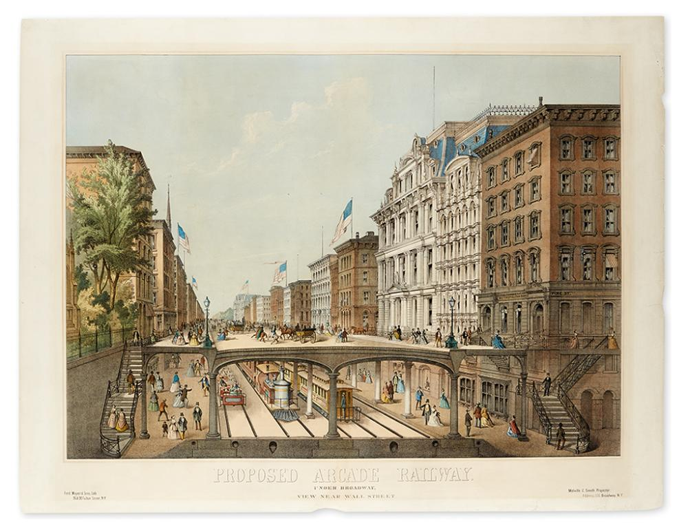 (NEW YORK CITY.) [Will, John M. August, after.] Proposed Arcade Railway. Under Broadway, View Near Wall Street.