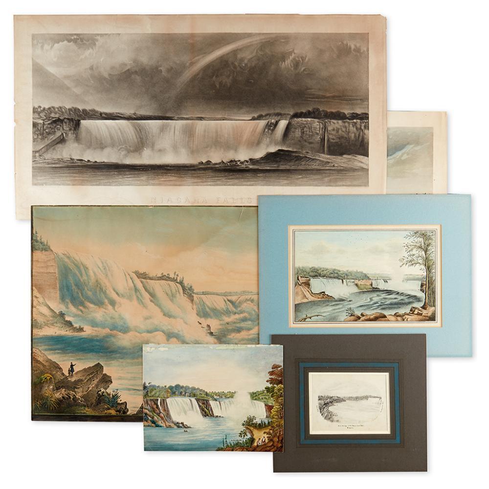 (NIAGARA FALLS.) Group of six nineteenth-century small-and medium-format views of Niagara Falls.