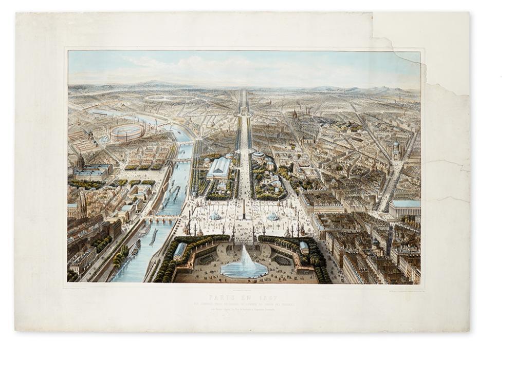 (PARIS.) Fichot, Charles. Paris En 1867. Vue Générale Prise Au Dessus De L''Entrée Du Jardin Des Tuileries.