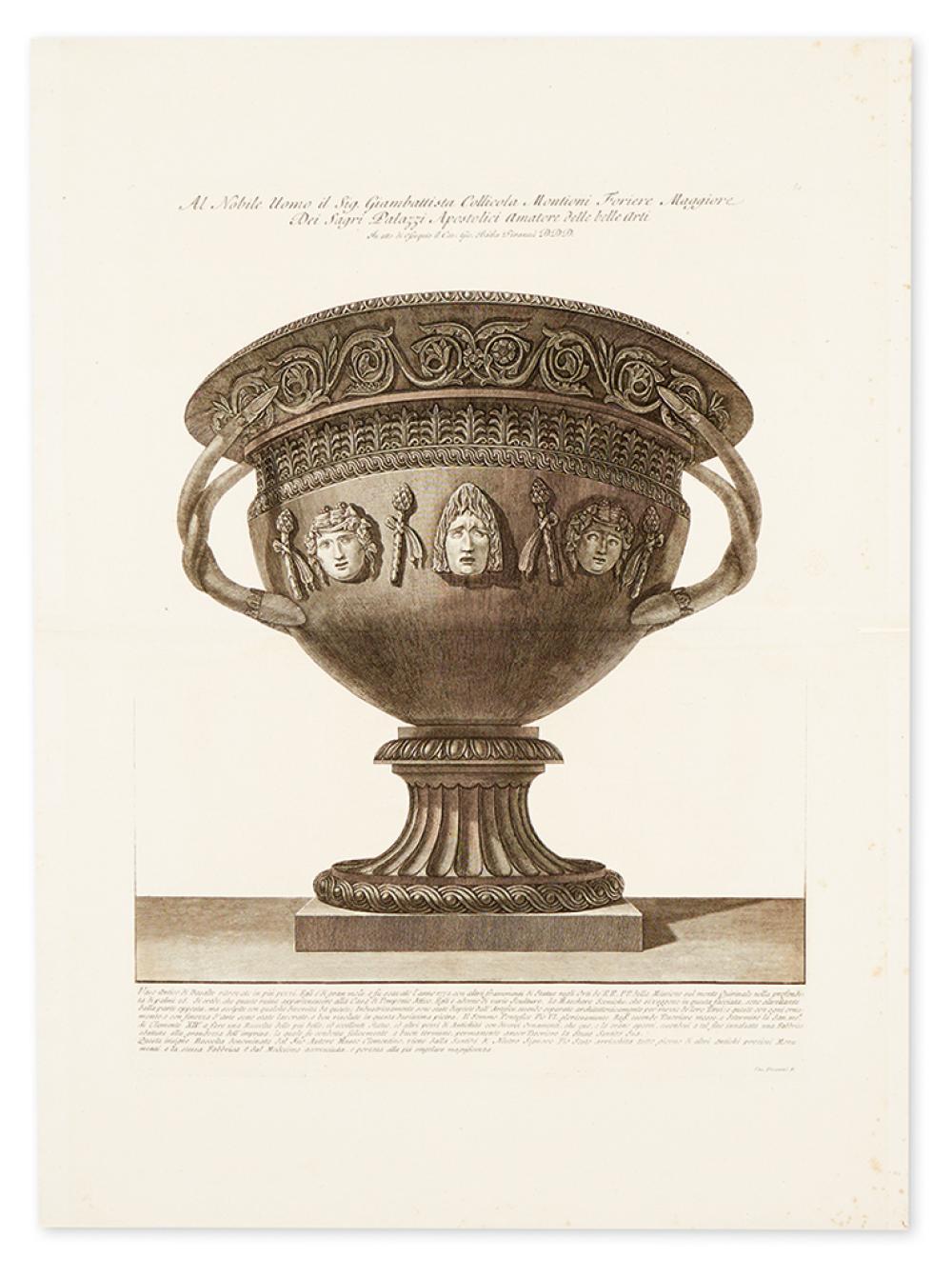 PIRANESI, GIOVANNI BATTISTA. [Large basalt vase]. Al Nobile Uomo il Sig. Giambattista Collicola Montioni Foriere Maggiore