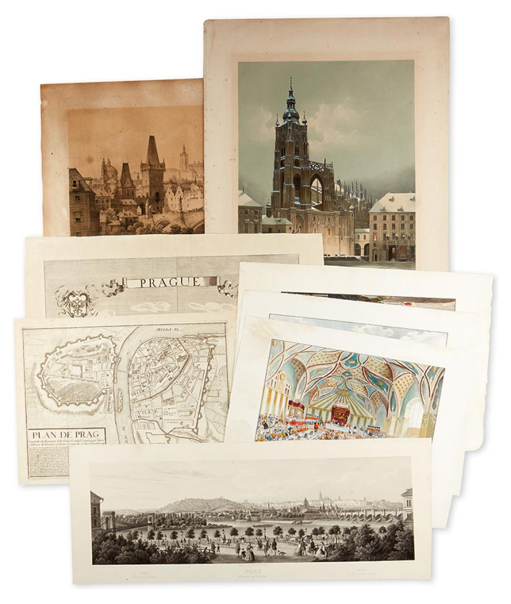 (PRAGUE.) Group of 8 engraved and lithographed views and plans of Prague.
