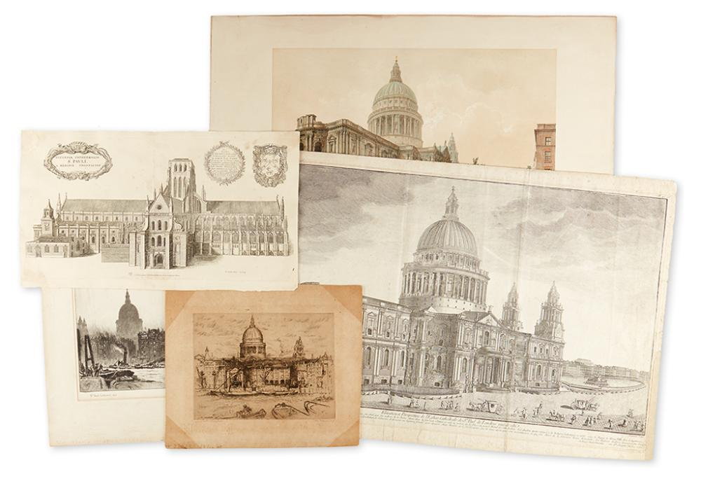 (ST. PAUL''S CATHEDRAL.) Group of five views of St. Paul''s Cathedral in London.