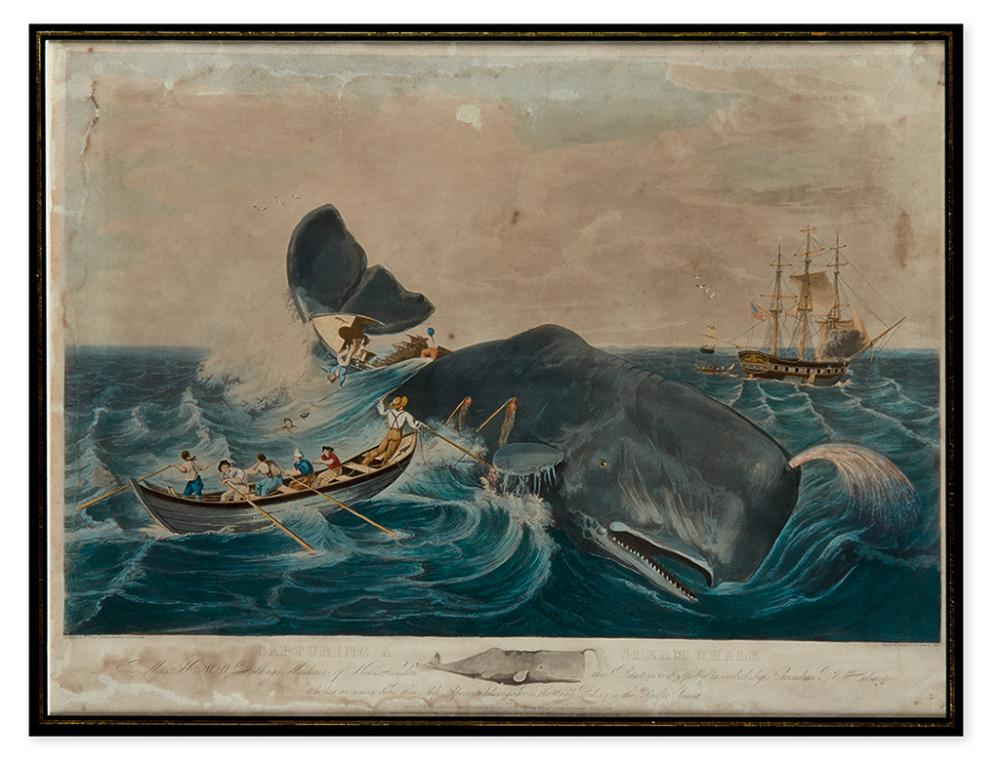 (WHALING.) Page, William; Hill, J., engraver. Capturing a Sperm Whale.