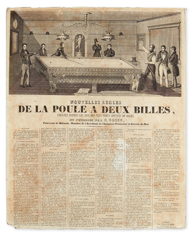 (BILLIARDS.) Godin, N. Nouvelles Règles de la poule a Deux Billes, Rédigées D''après les Avis des Plus Forts Joueurs de Rouen,