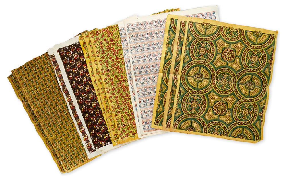 (EARLY PRINTED PAPER.) 12 decorative sheets of Remondini woodblock color-printed paper representing 5 different patterns.