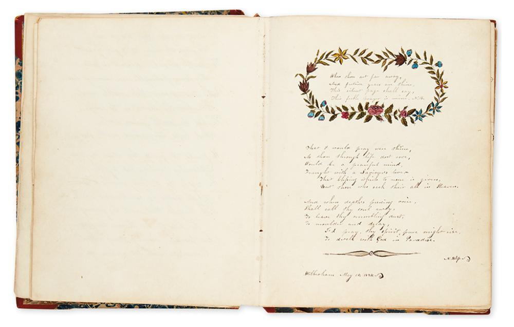 (FRIENDSHIP ALBUM.) 19th-century friendship album kept by Maria Morse, Norwich, CT,