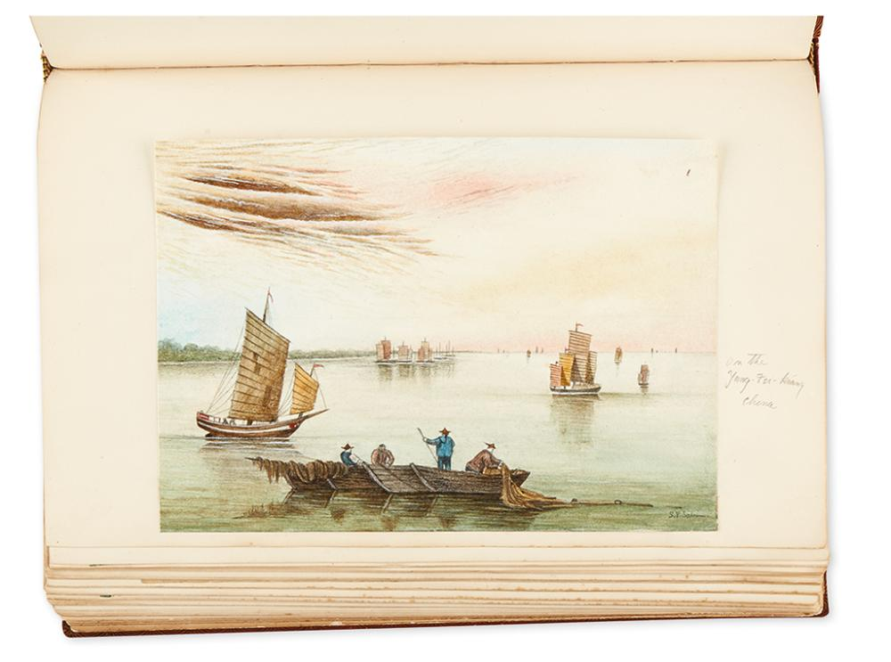 (MARINE ALBUM.) Sabin, S.P. Unique album of watercolor drawings, photographs and ship memorabilia