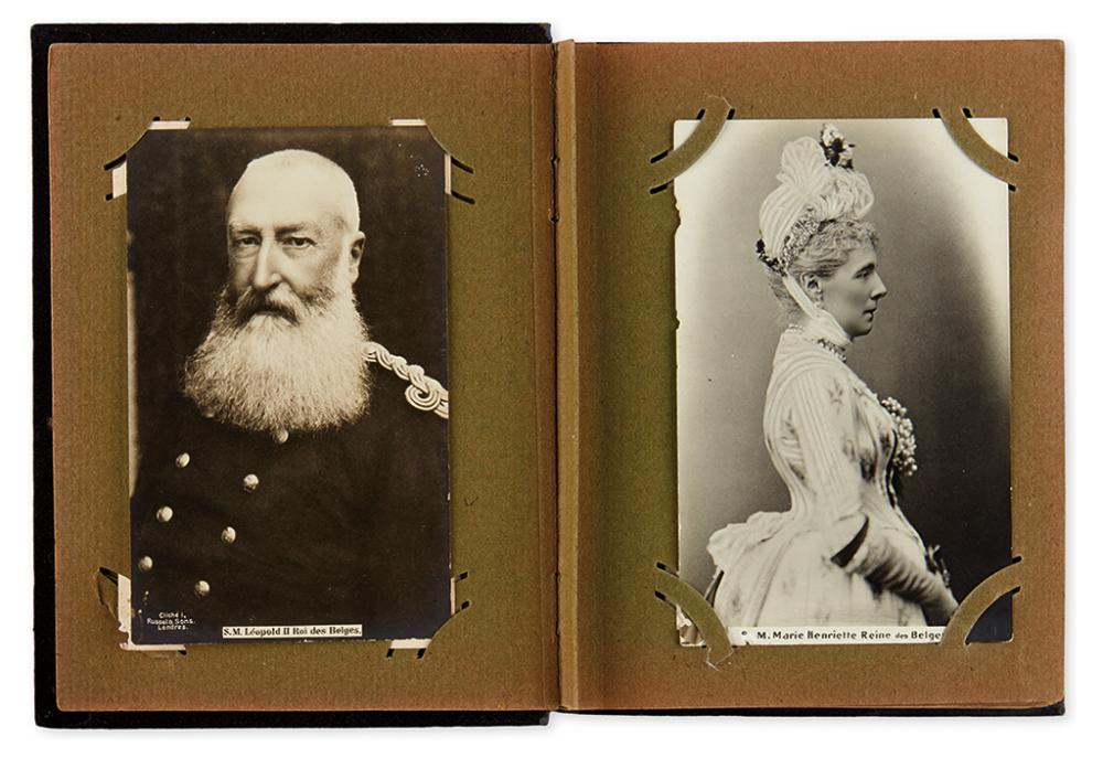 (ROYALTY.) Album of 86 mostly real photo postcards of 19th and 20th century European sovereign figures and families;