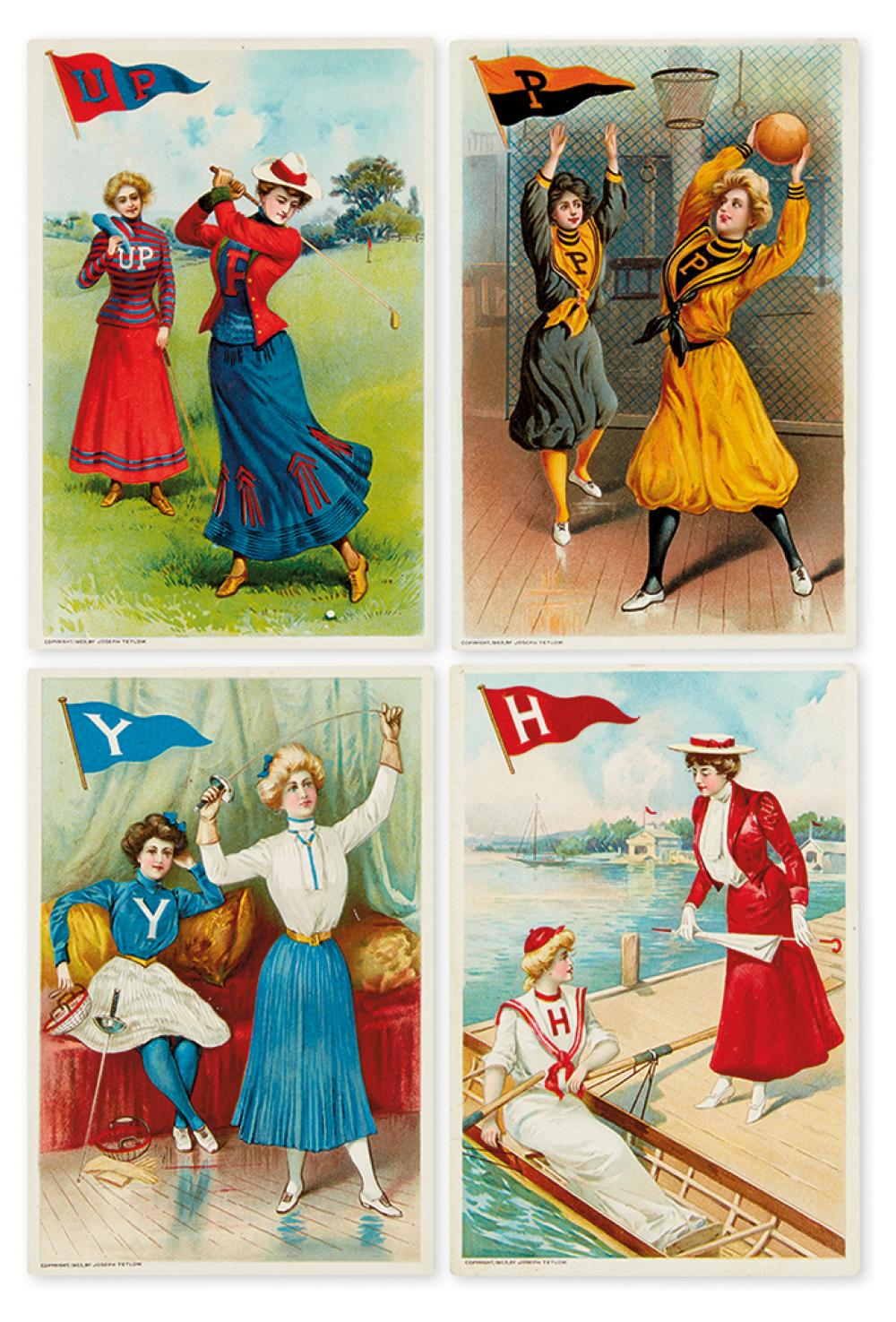 (TRADE CARDS.) Four trade cards featuring women''s collegiate sports.