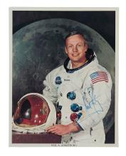 (ASTRONAUTS.) ARMSTRONG, NEIL. Photograph Signed, half-length portrait by NASA,