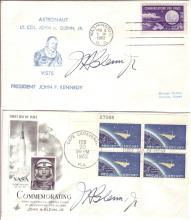 (ASTRONAUTS.) GLENN, JOHN H.; JR. Two First Day Covers, each Signed,