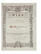 FRANZ JOSEPH I; EMPEROR OF AUSTRIA. Partly-printed vellum Document Signed,
