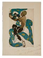 NIJINSKY, VASLAV. Reproduction of an artwork that Léon Bakst created for L'Après-midi d'un Faune Inscribed and Signed,