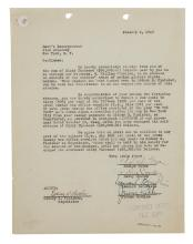 BERNSTEIN, LEONARD. Typed Document Signed, agreeing to pay Loew's Inc. a portion of proceeds from the play On the Town in exchange for