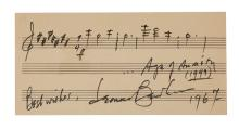 BERNSTEIN, LEONARD. Autograph Musical Quotation Signed and Inscribed,