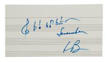 BERNSTEIN, LEONARD. Autograph Musical Quotation Signed,