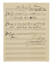 BERNSTEIN, LEONARD. Autograph Musical Quotation Signed, 5 bars from