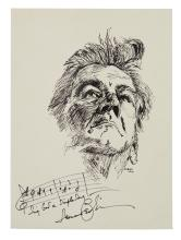 BERNSTEIN, LEONARD. Autograph Musical Quotation Signed, on an original ink drawing by E. Boller.