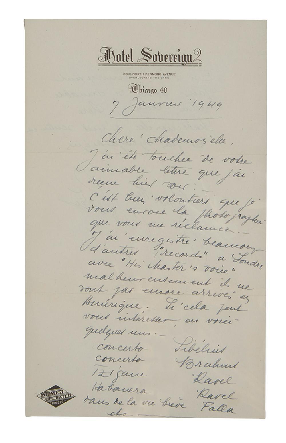 NEVEU, GINETTE  Autograph Letter Signed, to Mrs  Paul H  Lit