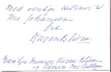 DINESEN, ISAK. Autograph Note Signed, in Danish, on a postcard:
