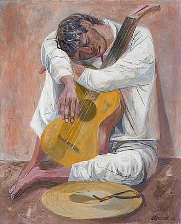 ANTON REFREGIER Seated Man with a Guitar.