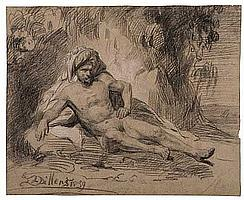 HENDRICK DILLENS (Flemish, 1812-1872) Reclining Male Nude in a Landscape.
