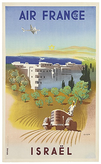 JEAN EVEN (1910-1986). AIR FRANCE / ISRAËL. 1949. 20x12 inches, 51x31 cm. Havas.