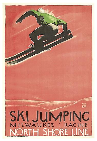 WILLARD FREDERIC ELMES (1900-1956). SKI JUMPING / NORTH SHORE LINE. 1928. 41x27 inches, 105x70 cm. Illinois Litho. Co., Chicago.