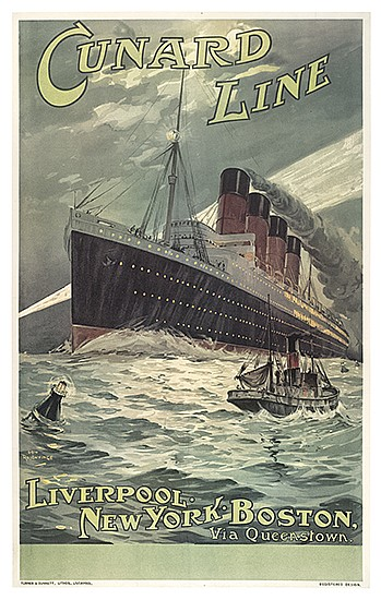 ODIN ROSENVINGE (1880-1957). CUNARD LINE / [LUSITANIA.] Circa 1907. 39x24 inches, 101x63 cm. Turner & Dunnett, Lithos., Liverpool.