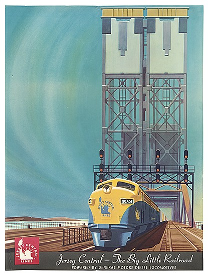 BERN HILL (1911-1977). JERSEY CENTRAL - THE BIG LITTLE RAILROAD. Circa 1950s. 24x18 inches, 61x46 cm.