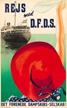 HENRY THELANDER (1902-1986). REJS MED D.F.D.S. / DET FORENEDE DAMPSKIBS - SELSKAB. 1939. 38x24 inches, 98x61. Andreasen & Lachmann, Co