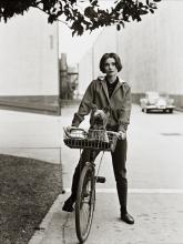 """SID AVERY (1918-2002) Audrey Hepburn with her dog """"Famous,"""" Paramount Studios."""