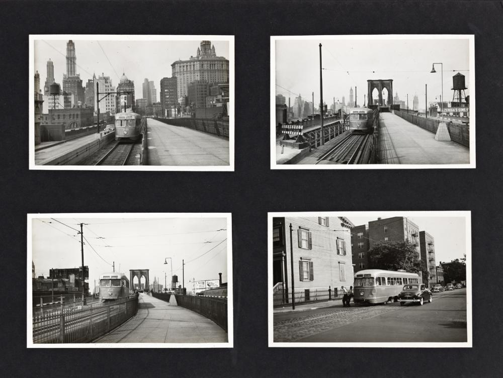 (NEW YORK CITY--MAX HUBACHER) A neat album with approximately 234 photographs surveying the city's elevated subways lines, streetcars,