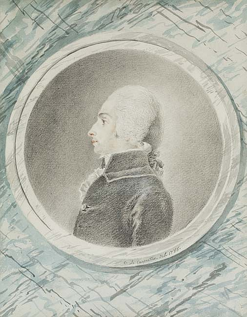CONSTANCE MARIE LE CHARPENTIER (Paris 1767-1849 Paris) Portrait of a Man in Profile to the left.